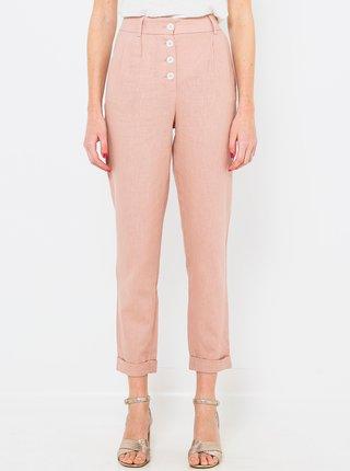 Růžové lněné straight fit kalhoty CAMAIEU