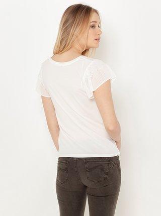 Bílé tričko s plisovaným rukávem CAMAIEU