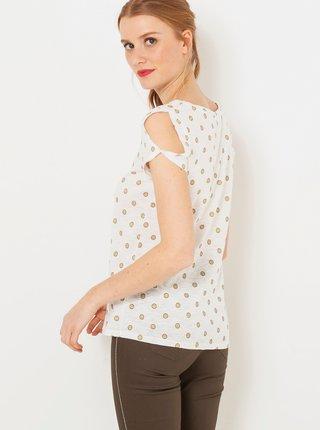 Biele bodkované tričko CAMAIEU