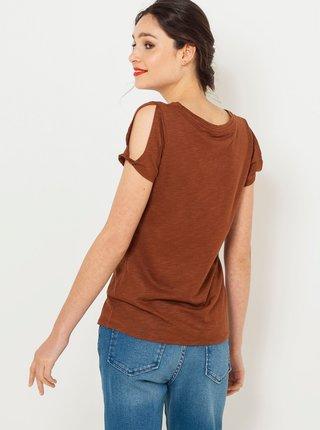 Hnedé tričko s potlačou CAMAIEU