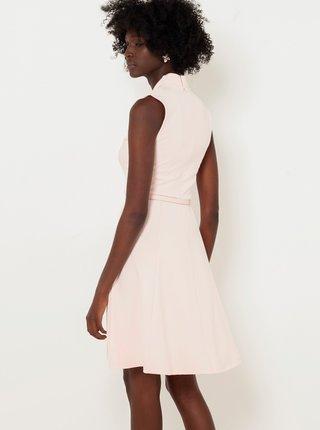 Krémové šaty s opaskom CAMAIEU