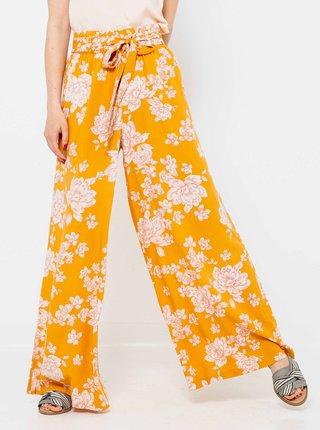 Hořčicové široké květované kalhoty CAMAIEU