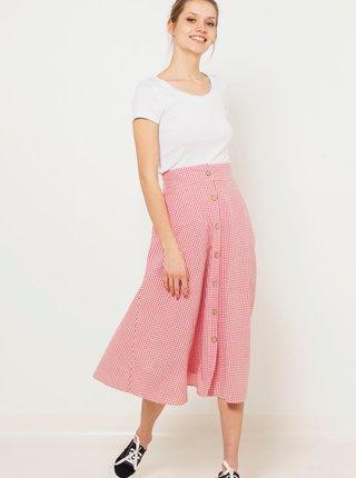 Světle růžová kostkovaná midi sukně CAMAIEU