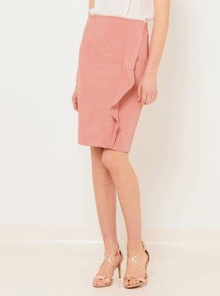 Světle růžová pouzdrová sukně s volánem CAMAIEU