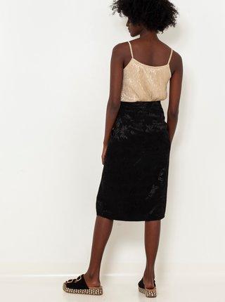 Černá vzorovaná sukně s knoflíky CAMAIEU