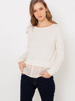 Biely sveter s prímesou ľanu CAMAIEU