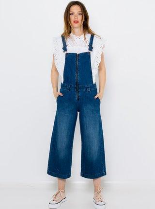 Modré straight fit džíny s laclem CAMAIEU