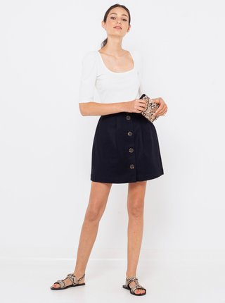 Černá sukně s příměsí lnu CAMAIEU