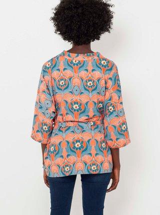 Oranžovo-modré vzorované kimono so zaväzovaním CAMAIEU