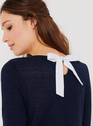 Tmavě modrý svetr s příměsí lnu CAMAIEU