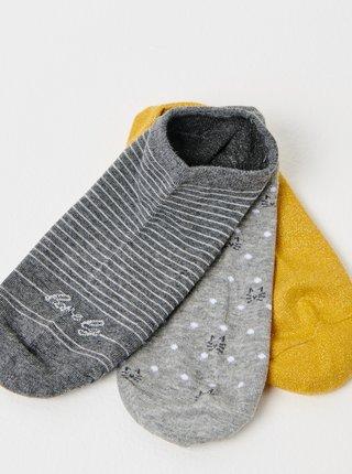 Sada troch párov ponožiek v šedej a horčicovej farbe CAMAIEU