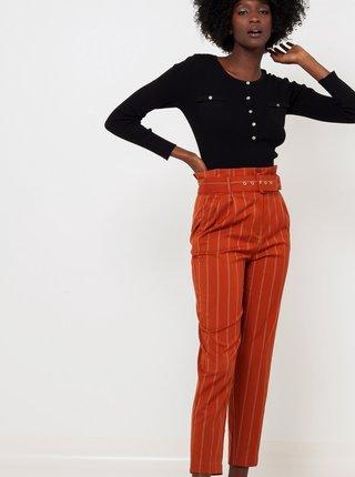 Oranžové pruhované kalhoty s páskem CAMAIEU