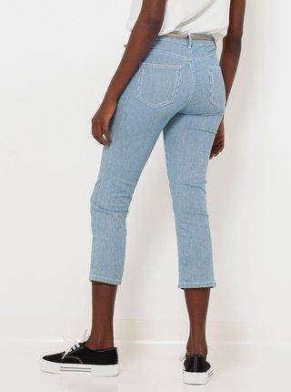 Modré 3/4 pruhované slim fit nohavice CAMAIEU