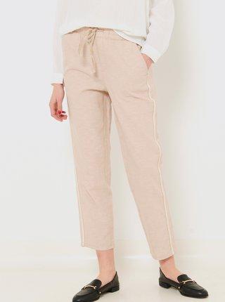 Béžové zkrácené lněné kalhoty CAMAIEU
