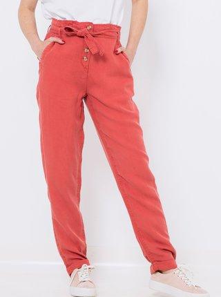 Červené nohavice s vysokým pásom a s prímesou ľanu CAMAIEU