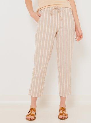 Bílo-béžové zkrácené lněné kalhoty CAMAIEU