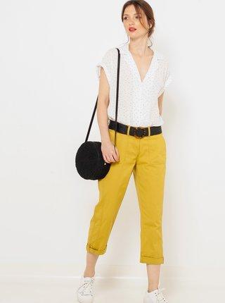 Žlté 3/4 straight fit nohavice CAMAIEU