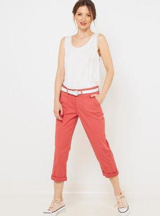 Růžové 3/4 straight fit kalhoty CAMAIEU