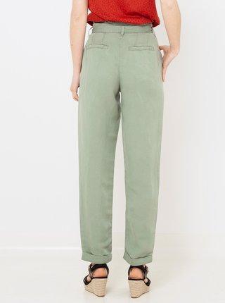 Zelené lněné kalhoty CAMAIEU