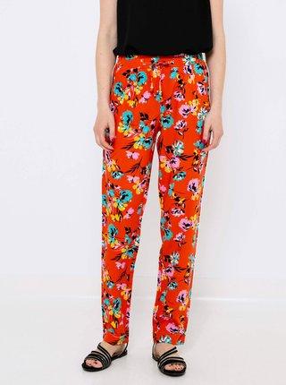Oranžové kvetované nohavice CAMAIEU