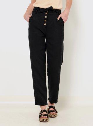 Černé lněné kalhoty CAMAIEU