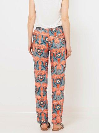Oranžovo-modré vzorované kalhoty CAMAIEU