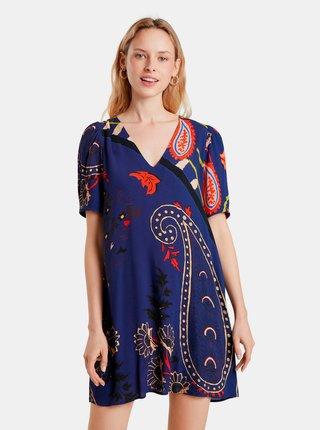 Tmavě modré vzorované šaty Desigual Terrassa