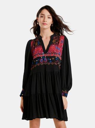 Čierne šaty so vzorom Desigual Solsona