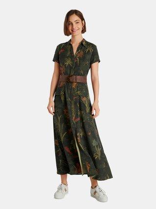 Kaki kvetované košeľové maxi šaty Desigual Amsterdam