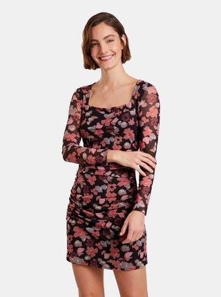 Růžovo-černé květované pouzdrové šaty Desigual Roma