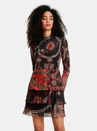 Čierne vzorované šaty Desigual Berlin