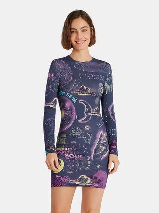 Fialovo-modré vzorované pouzdrové šaty Desigual Soul Galaxy