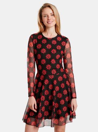 Černé květované šaty Desigual Kristal