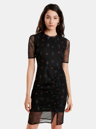 Čierne vzorované púzdrové šaty Desigual Kira