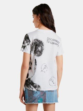 Biele dámske vzorované tričko Desigual Mickey