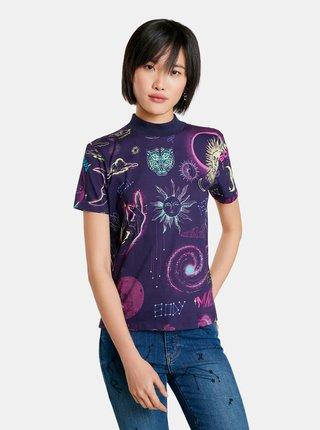 Fialové dámské vzorované tričko Desigual Cosmos