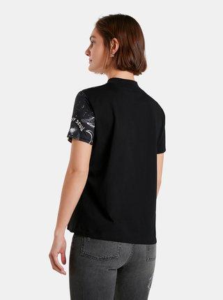 Černé dámské vzorované tričko Desigual Grace Hopper