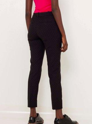 Černé vzorované zkrácené straight fit kalhoty CAMAIEU
