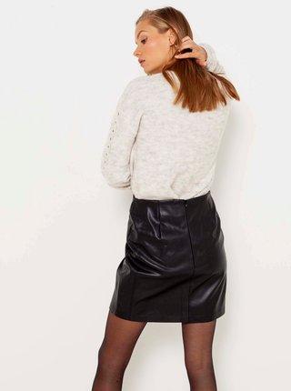 Černá koženková sukně CAMAIEU