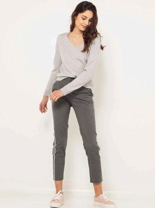 Šedé zkrácené slim fit kalhoty s lampasem CAMAIEU