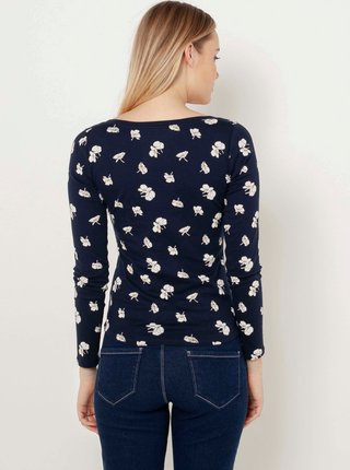 Tmavě modré květované tričko CAMAIEU