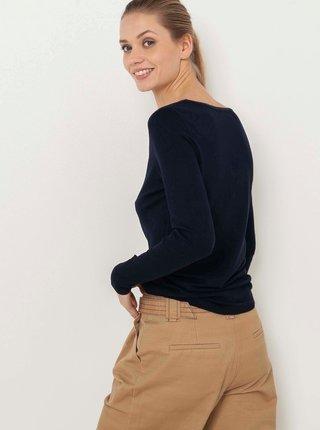 Tmavě modrý lehký svetr s véčkovým výstřihem CAMAIEU