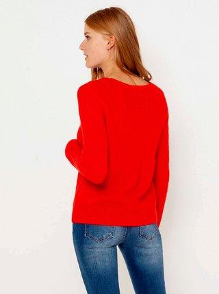 Červený svetr s véčkovým výstřihem CAMAIEU