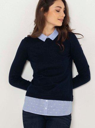 Černý lehký svetr s všitou košilovou částí CAMAIEU