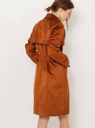 Hnědý kabát v semišové úpravě CAMAIEU