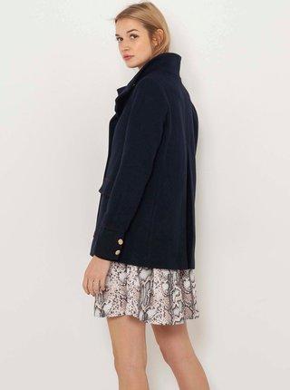 Tmavě modrý krátký kabát s příměsí vlny CAMAIEU