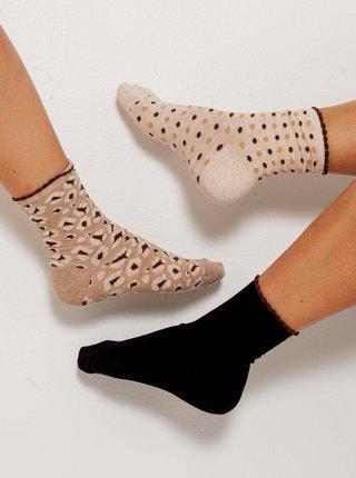 Sada tří párů vzorovaných ponožek v béžové a černé barvě CAMAIEU