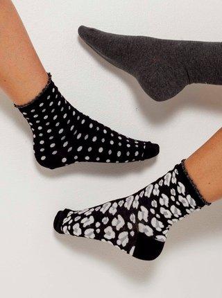 Sada tří párů vzorovaných ponožek  v šedé a černé barvě CAMAIEU