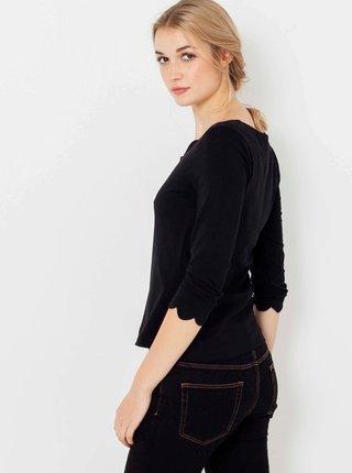 Černé tričko s ozdobnými lemy CAMAIEU