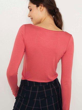 Růžové tričko s dlouhým rukávem CAMAIEU